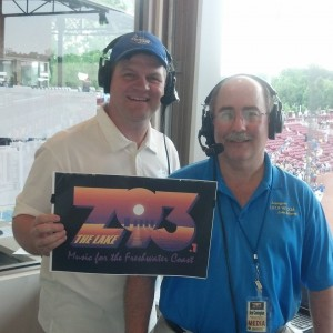 Mike and Brad in the press box pregame of the Lexington Vs Blythewood Championship Game 3 at Carolina Stadium. (photo credit - Tony Ciuffo)